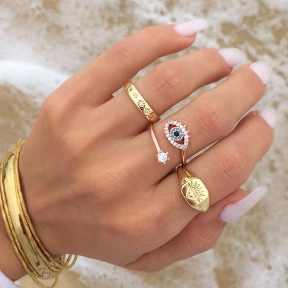 Hamsa Evil Eye Ring